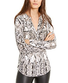 INC Petite Snake-Embossed Zip-Detail Top, Created for Macy's