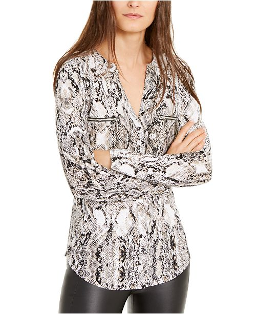 INC International Concepts INC Petite Snake-Embossed Zip-Detail Top, Created for Macy's