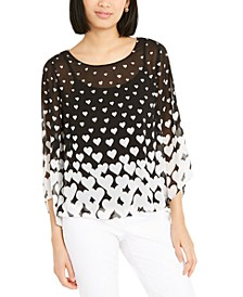 Heart-Print Angel-Sleeve Top, Created For Macy's