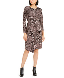 Alfani Petite Animal-Print Asymmetrical Wrap Dress, Created For Macy's