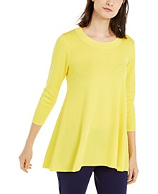 Elbow-Sleeve High-Low Hem Top