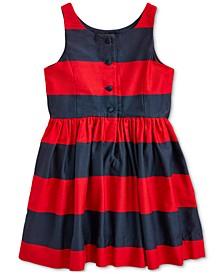 Toddler Girls Striped Cotton Sateen Dress
