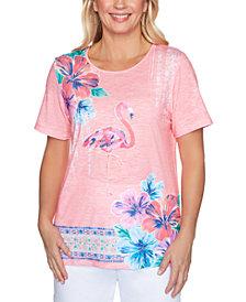 Alfred Dunner Miami Beach Flamingo Print T-Shirt