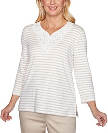 Cottage Charm Striped Lace Trim Top