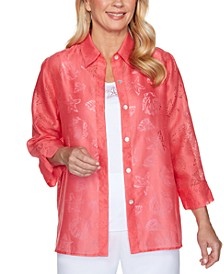 Miami Beach Sheer Shell Print Button-Down Shirt