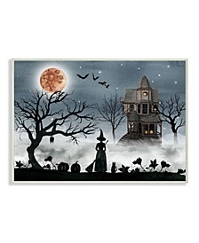 "Home Decor Collection Halloween Witch Silhouette in Full Moon Haunted House Scene Wall Plaque Art 10"" L x 0.5"" W x 15"" H"