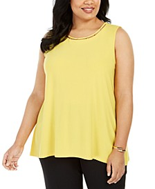 Plus Size Neckline-Cutout Bead-Trim Top