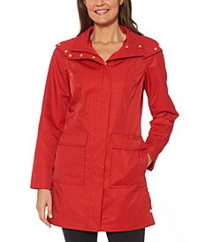 Hooded Snap-Collar Raincoat