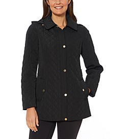 Petite Water-Resistant Quilted Hooded Jacket