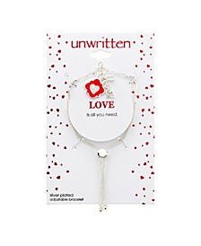"""""""Love """" Cubic Zirconia And Enamel Heart Charm Silver Plated Bolo Bracelet"""
