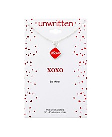"""XOXO Square Enamel Pendant Silver Plated Necklace, 16""""+2"""" Extender"""