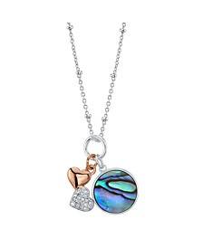 """Cubic Zirconia Double Heart And Abalone Pendant Rose Gold Two Tone Fine Plated Silver Necklace, 16"""" + 2"""" Extender"""