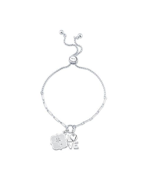 """Unwritten """"Love"""" And Star Charm Bolo Necklace Silver Bracelet"""