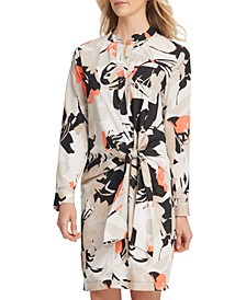 Printed Tie-Front Shirtdress