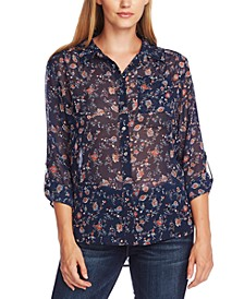 Ditsy-Floral Shirred-Shoulder Blouse