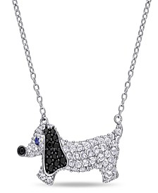 Created Blue and White Sapphire (1 1/3 ct. t.w.) Black Spinel (1/5 ct. t.w.) Dog Necklace in Sterling Silver