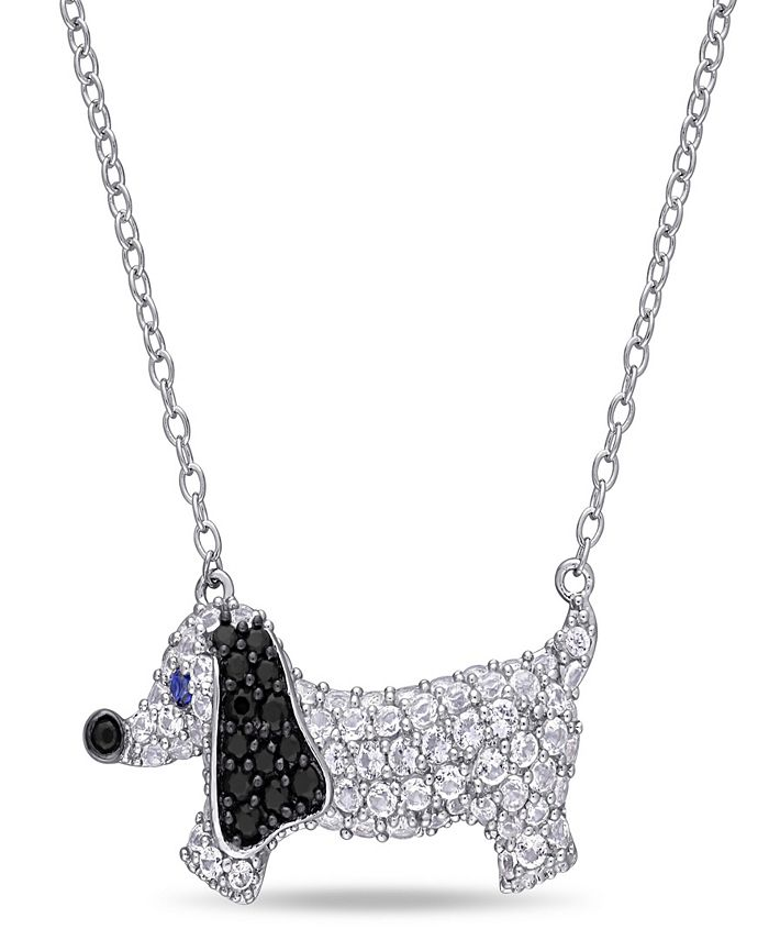 Macy's - Created Blue and White Sapphire (1 1/3 ct. t.w.) Black Spinel (1/5 ct. t.w.) Dog Necklace in Sterling Silver