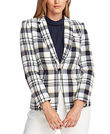 Cotton Plaid-Print Single-Button Blazer