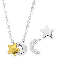 Children's 2-Tone Celestial Stud Earrings Pendant Necklace Set in Sterling Silver and 14K Yellow Gold Plating
