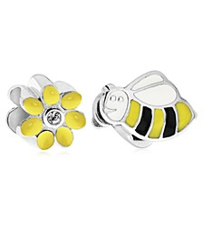 Children's  Enamel Daisy Bee Bead Charms - Set of 2 in Sterling Silver
