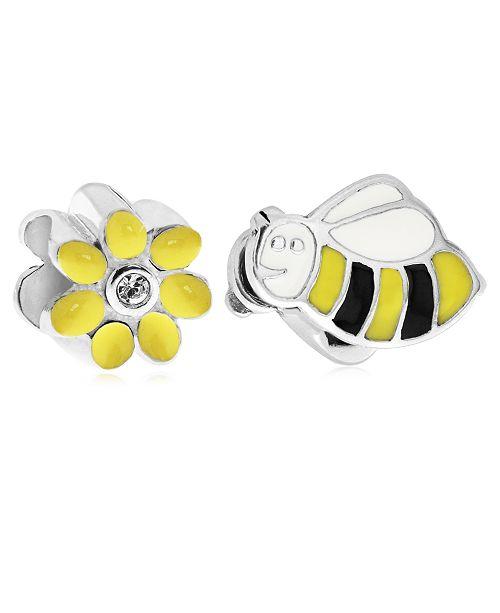 Rhona Sutton Children's  Enamel Daisy Bee Bead Charms - Set of 2 in Sterling Silver