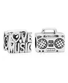 Children's  Love Music Bead Charms - Set of 2 in Sterling Silver