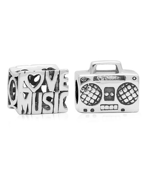 Rhona Sutton Children's  Love Music Bead Charms - Set of 2 in Sterling Silver