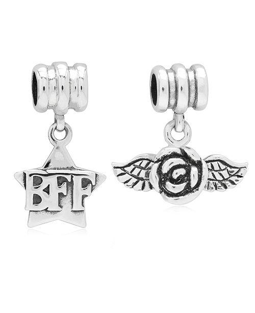 Rhona Sutton Children's  BFF Rose Drop Charms - Set of 2 in Sterling Silver