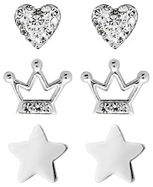 Children's  Crystal Heart, Crown, Star Stud Earrings - Set of 3 in Sterling Silver