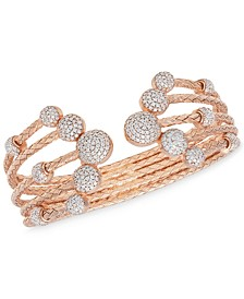 5 Row Crystal Dome Cuff Bangle in 14k Rose Gold Plated Sterling Silver