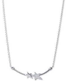 "White Topaz Double Star Cable 17-1/2"" Pendant Necklace (1/10 ct. t.w.) in Sterling Silver & Stainless Steel"
