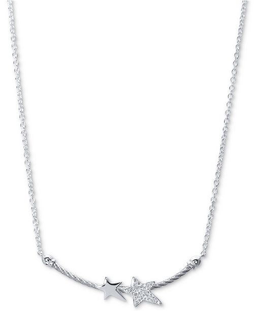 """CHARRIOL White Topaz Double Star Cable 17-1/2"""" Pendant Necklace (1/10 ct. t.w.) in Sterling Silver & Stainless Steel"""