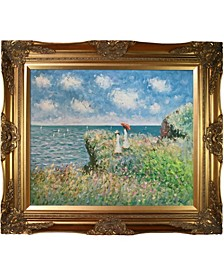 "by Overstockart Cliff Walk at Pourville by Claude Monet with Victorian Frame Oil Painting Wall Art, 32"" x 28"""