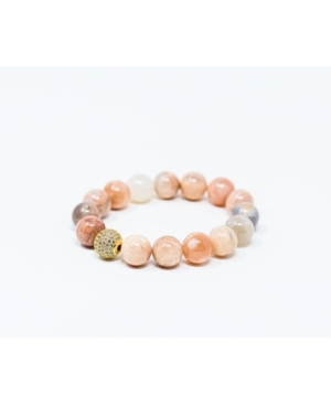 Sunstone Gemstone with Gold Pave Focal Bead Bracelet