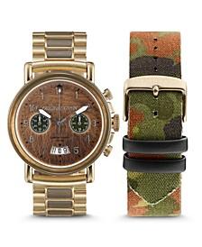 Men Gold-Tone Stainless Steel Bracelet Watch, 44mm