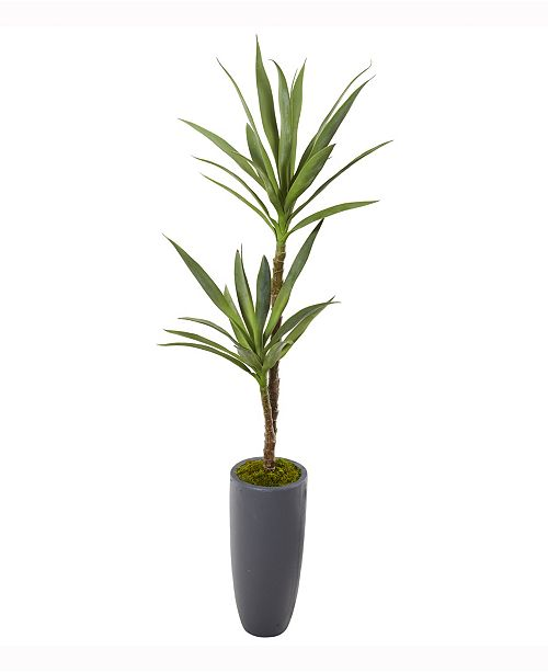 Nearly Natural 58in. Yucca Artificial Plant in Gray Planter