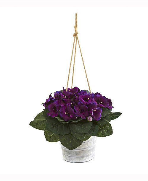 Nearly Natural 25in. Gloxinia Artificial Plant in Hanging Metal Bucket
