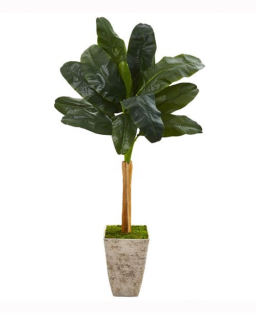 Nearly Natural 70in. Banana Artificial Tree in Country White Planter