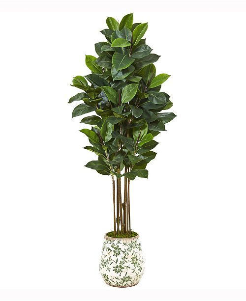 Nearly Natural 63in. Rubber Leaf Artificial Tree in Floral Print Planter