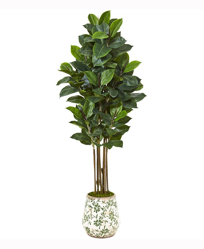 Nearly Natural - 63in. Rubber Leaf Artificial Tree in Floral Print Planter