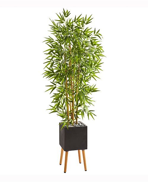 Nearly Natural 59in. Bamboo Artificial Tree in Black Planter with Stand