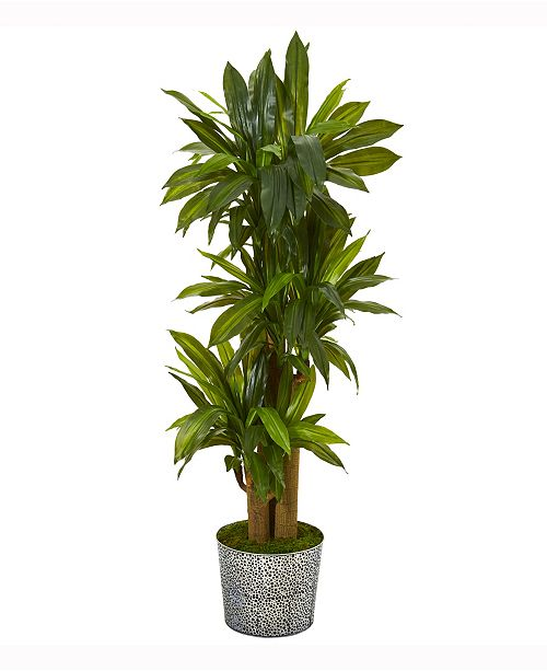 Nearly Natural 58in. Corn Stalk Dracaena Artificial Plant in Black Embossed Tin Planter Real Touch