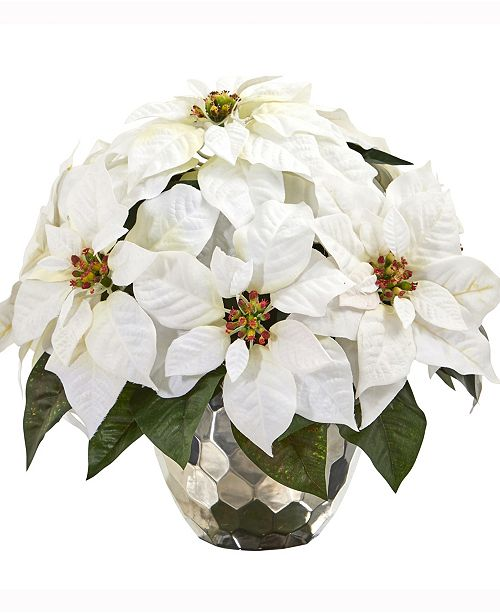 Nearly Natural 14in. Poinsettia Artificial Arrangement in Designer Silver Bowl