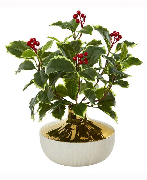 Nearly Natural 14in. Variegated Holly Leaf Artificial Plant in Gold and Cream Elegant Vase Real Touch