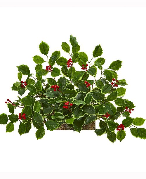 Nearly Natural 20in. Variegated Holly with Berries Artificial Ledge Plant Real Touch