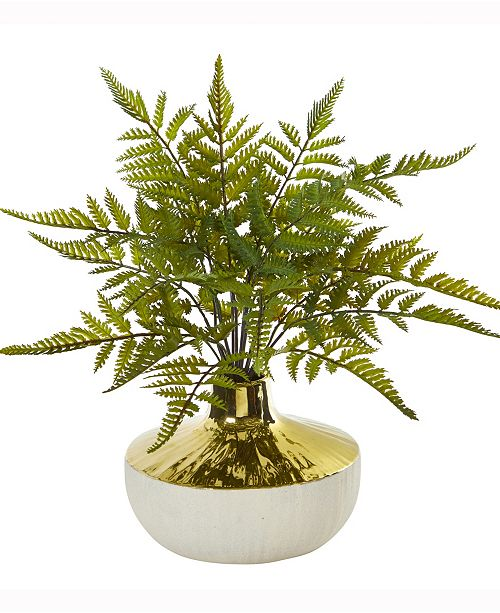 Nearly Natural 14in. Fern Artificial Plant in Gold and Cream Elegant Vase