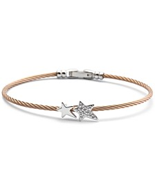 White Topaz Cable Bangle Bracelet (1/10 ct. t.w.) in Stainless Steel & Rose Gold-Tone PVD