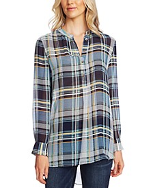 Plaid Henley Tunic