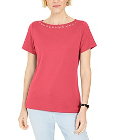 Grommet-Trim Top, Created for Macy's