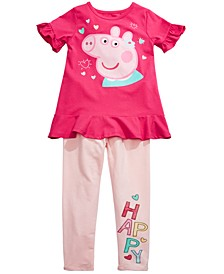 Little Girls 2-Pc. Happy Peppa Top & Leggings Set